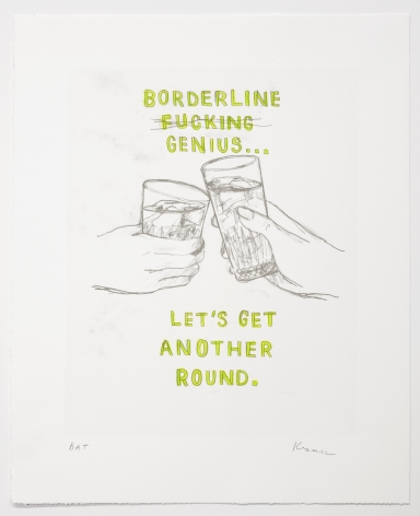 David Kramer Borderline Genius, 2019 Lithograph with hand-coloring 18 1/4 x 15 in. / 46.4 x 38.1 cm. Edition of 35 Published by Owen James Gallery