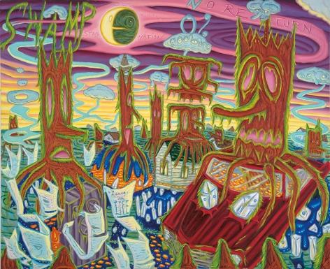 David Sandlin Swamp Of No Return, 2016 Oil on canvas 54 x 66 in. / 137.2 x 167.6 cm.