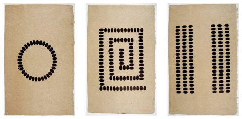 Richard Long Untitled (D, E, F - Vertical), 1994 Suite of three lithographs printed in black on hemp paper 33 x 21 1/2 in. / 83.8 x 54.6 cm. each Edition of 40