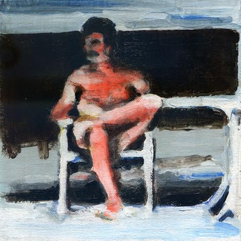 mark mann O.U.P. - Roy, 2015 Acrylic on canvas 8 x 8 inches (framed)