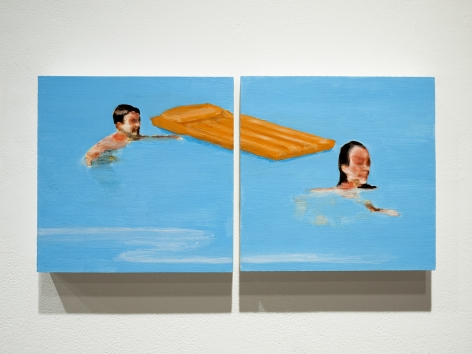 mark mann painting of boy and girl in pook, diptych