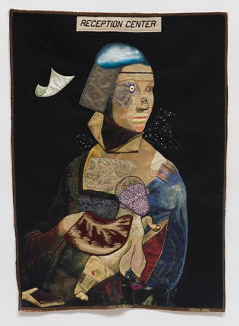 China Marks The Aliens, 2017 Fabric, thread, lace, fusible adhesive on a contemporary tapestry copy of da Vinci's Lady with an Ermine and parts of Gaudi's La Familia