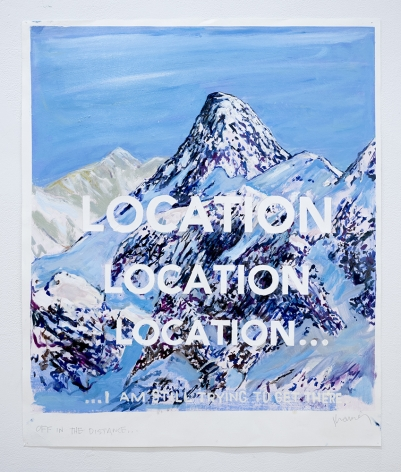 David Kramer painting of mountain reads location location location