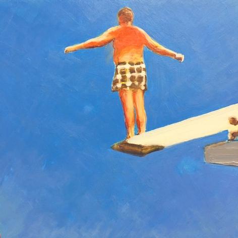 mark mann Diver, 2016 Acrylic on panel 11 x 11 inches (framed)