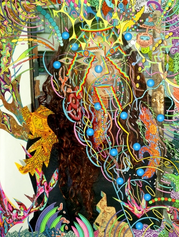 Dex Fernandez Don't Be Scared, 2015 Acrylic, ink, gold leaf, mylar collage and embroidery on digital photograph