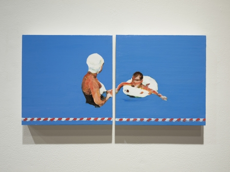 mark mann painting of mother and son in pool, diptych
