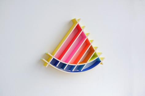 chiaozza Sun Slice, 2017 Acrylic on wood 14 x 16 x 2 in. / 35.6 x 40.6 x 5.1 cm.