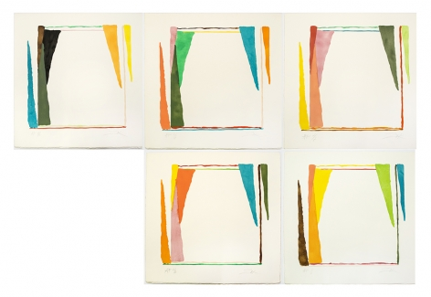 Larry Zox Untitled (Pochoir I-V), 1975 Suite of five color stencil prints, printed with water-colors and gouache 23 1⁄8 x 22 inches each Edition of 20