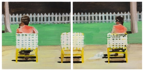 mark mann Irish Twins, 2016 Acrylic on two wood panels 10 x 20 inches overall