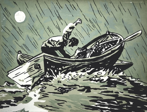 Richard Bosman Full Moon, 1986 Woodcut, murder in a boat