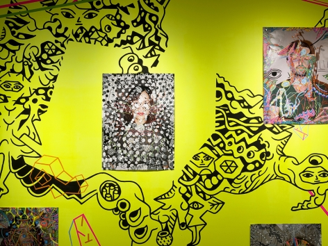 Dex Fernandez artwork on colorful mural installation