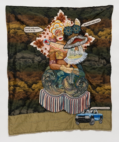 China Marks  Above and Below, or How Bad Things Happen to Good People, 2016  Fabric, thread, screen-printing ink, plastic pearls,  lace, tea-dyed fabric, fusible adhesive on a  contemporary tapestry copy of Raphael's  Cowper Madonna