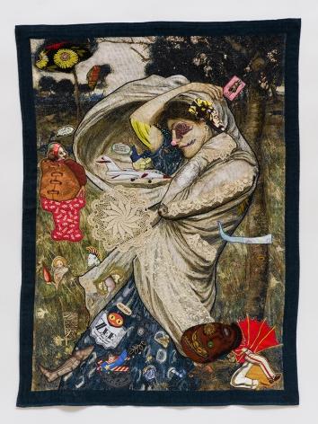 china mark clown princess coming undone fabric collage