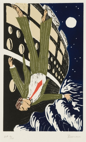 Richard Bosman Man Overboard, 1981 Color Woodcut