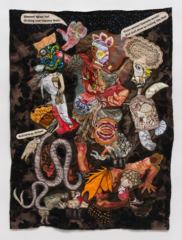 China Marks Hell Has Its Charms, 2017 Fabric, thread, screen printing ink, lace, residual pencil, brass trim on a contemporary tapestry copy of Guido Reni's St. Michael the Archangel Trampling Satan