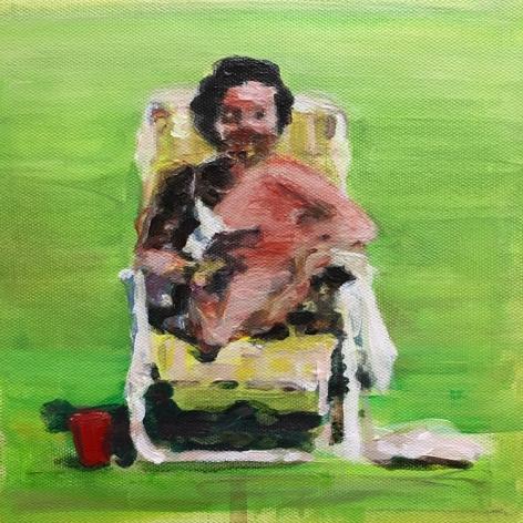 mark mann O.U.P. - Arlene, 2018 Acrylic on canvas 8 x 8 inches (framed)