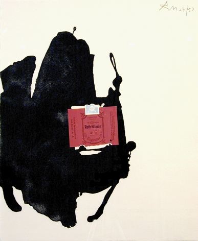 Robert Motherwell Roth-Händle, 1975 Brushed aquatint and collage 19 1/2 x 15 5/8 in. (49.5 x 39.7 cm) Edition of 53