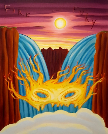 David Sandlin Fire And Fury, 2018 Oil on canvas, flaming eye-mask