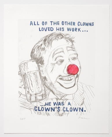 David Kramer Clown, 2019 Lithograph with hand-coloring Published by Owen James Gallery