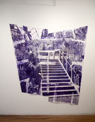 Bjorn Meyer Ebrecht, untitled stairs drawing, 2019, purple ink on paper