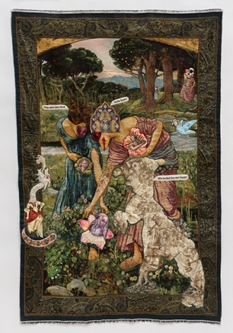 China Marks Ripe for the Picking, 2017 Fabric, lace, thread, epoxy glue, glass beads, fusible adhesive on a contemporary tapestry copy of Gather Ye Rosebuds While Ye May, by John William Waterhouse