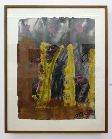 Somluk Pantiboon Untitled (Pink, Yellow, Brown), 2018 clay pigment and acrylic on mulberry paper