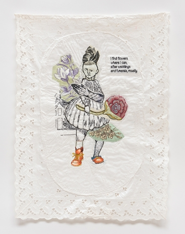 China Marks Flower Gurl, 2017 Fabric, thread, lace, screen-printing ink, Jade Glue, fusible adhesive