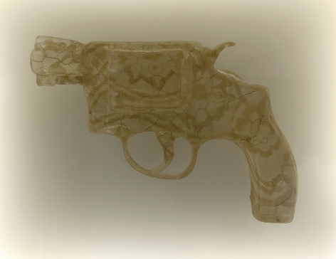 Nikki Luna Quince (8), 2016 Cast resin and lace handgun in lightbox