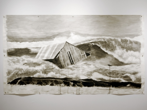 Colleen Blackard drawing of a house washed out to sea