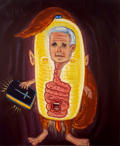 David Sandlin Will O' the Wisp, 2018 Oil on canvas, mike pence cartoon