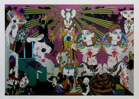 PHUNK (Collaboration with Keiichi Tanaami) Feast in Peachy Heaven - Night, 2010 Screenprint on Kakita paper with hard gloss and diamond dust