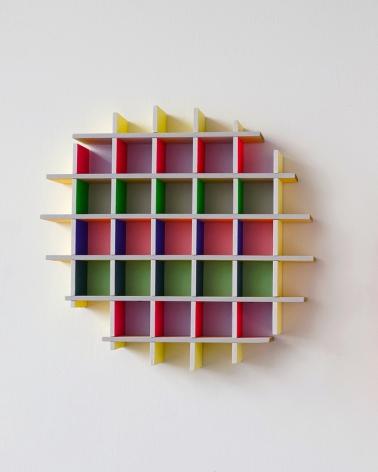 chiaozza Grid Cloud, 2017 Acrylic on wood 15 x 16 x 2 in. / 38.1 x 40.8 x 5.1 cm.