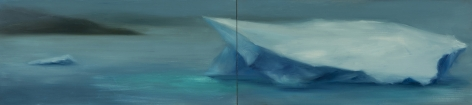 Karen Marston Iceberg In Mist 2, 2018 Oil on 2 wood panels 10 x 40 inches
