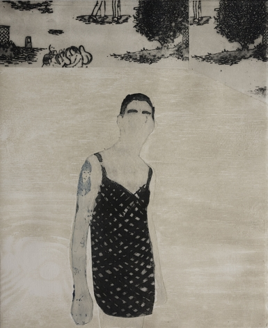 Elin Rodseth Bystander 2, 2014 Photopolymer and woodcut 13 7/16 x 11 in. / 34.1 x 27.9 cm. Edition of 15