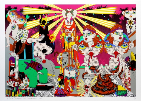 PHUNK (Collaboration with Keiichi Tanaami) Feast in the Peachy Heaven - Day, 2010 Screenprint on Kakita paper with hard gloss and diamond dust