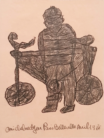 Michel Nedjar Avril 1987 - Untitled ( Le velo) 26 x 20 cms