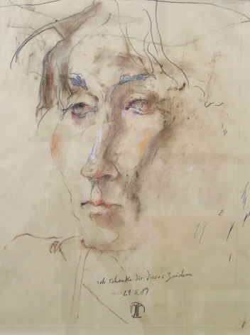 Horst Janssen, Portrait of Birgit Jacobsen: I Give You This Sign Of, 21/05/1989
