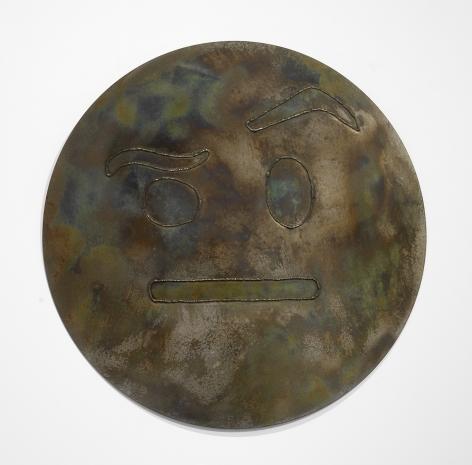 Nick Moss- RAISED EYEBROW (Camo), 2018 (36 inch diameter)_2_Casterline|Goodman Gallery