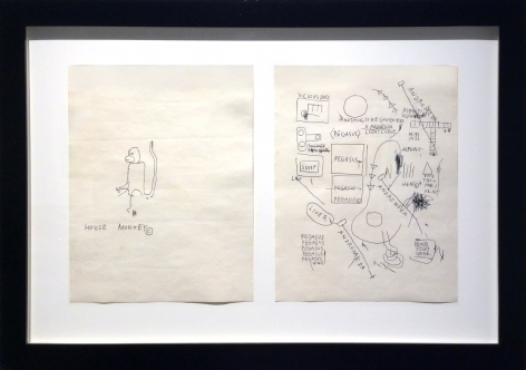 """Jean-Michel Basquiat_ Untitled (House Monkey) and Untitled (Andromeda), 1986 (11"""" x 8.5"""" each) Framed - Casterline