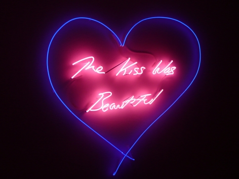 Tracey Emin - The Kiss Was Beautiful, 2012 (Blue Heart and Pink Text Neon) _ Casterline|Goodman Gallery