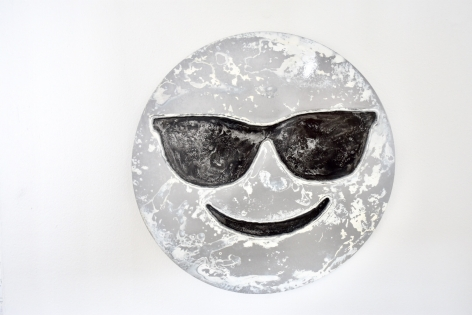 Nick Moss-Snow- Face with glasses, 2019 (16 inch diameter)_Casterline|Goodman Gallery