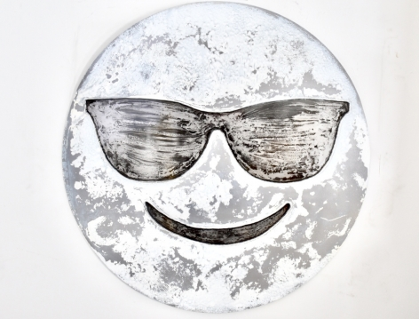 Nick Moss-Snow- Face with glasses, 2019 (36 inch diameter)_Casterline|Goodman Gallery