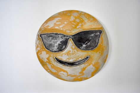 Nick Moss-Smiling face with shades, 2019 (12 inch diameter)_Casterline|Goodman Gallery