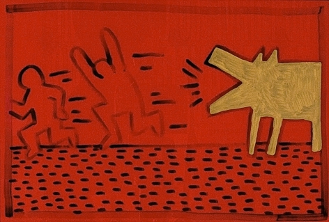 "Keith Haring_Untitled, 1981 (7.5"" x 11"") Plastic - Casterline