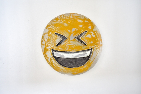 Nick Moss-Smiling face with tightly closed eyes, 2019 (12 inch diameter)_Casterline|Goodman Gallery