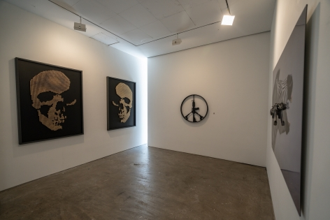 Exhibition View of One Less Gun by McCrow at Hoerle-Guggenheim Contemporary art gallery in Chelsea, Founded by Philippe Hoerle-Guggenheim