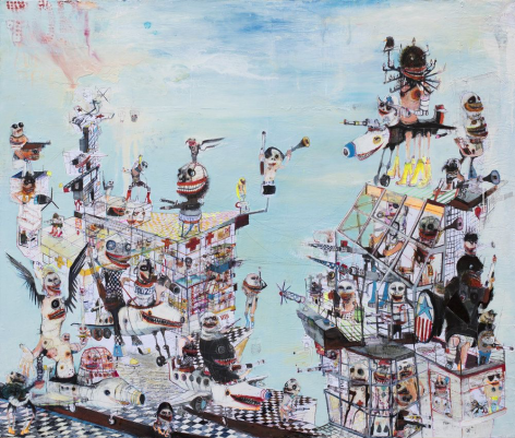 Fort Apocalypso painting by Kinki Texas at Hg Contemporary, founded by Philippe Hoerle-Guggenheim