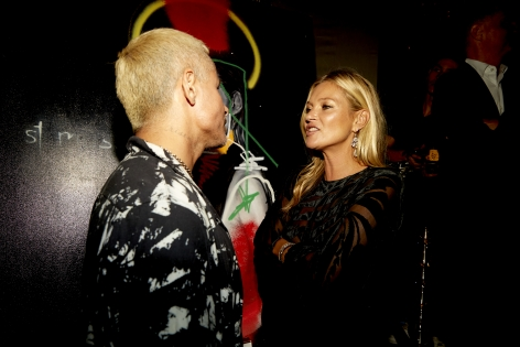 Kate Moss and Hg Contemporary Artist Louis Carreon at the Fashion Media Awards for NYFW