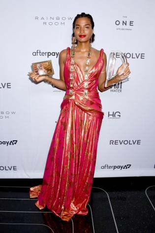 India Moore with Award at the Fashion Media Awards x Hg Contemporary
