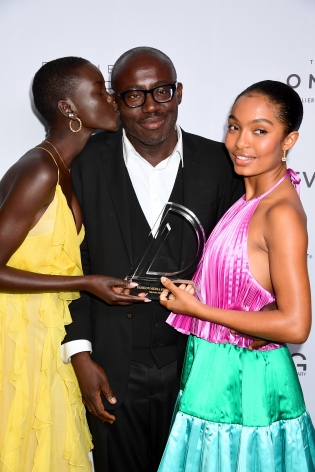 Adut Akech Bior, Edward Enninful, Yara Shahidi attend Hg Contemporary x Fmas